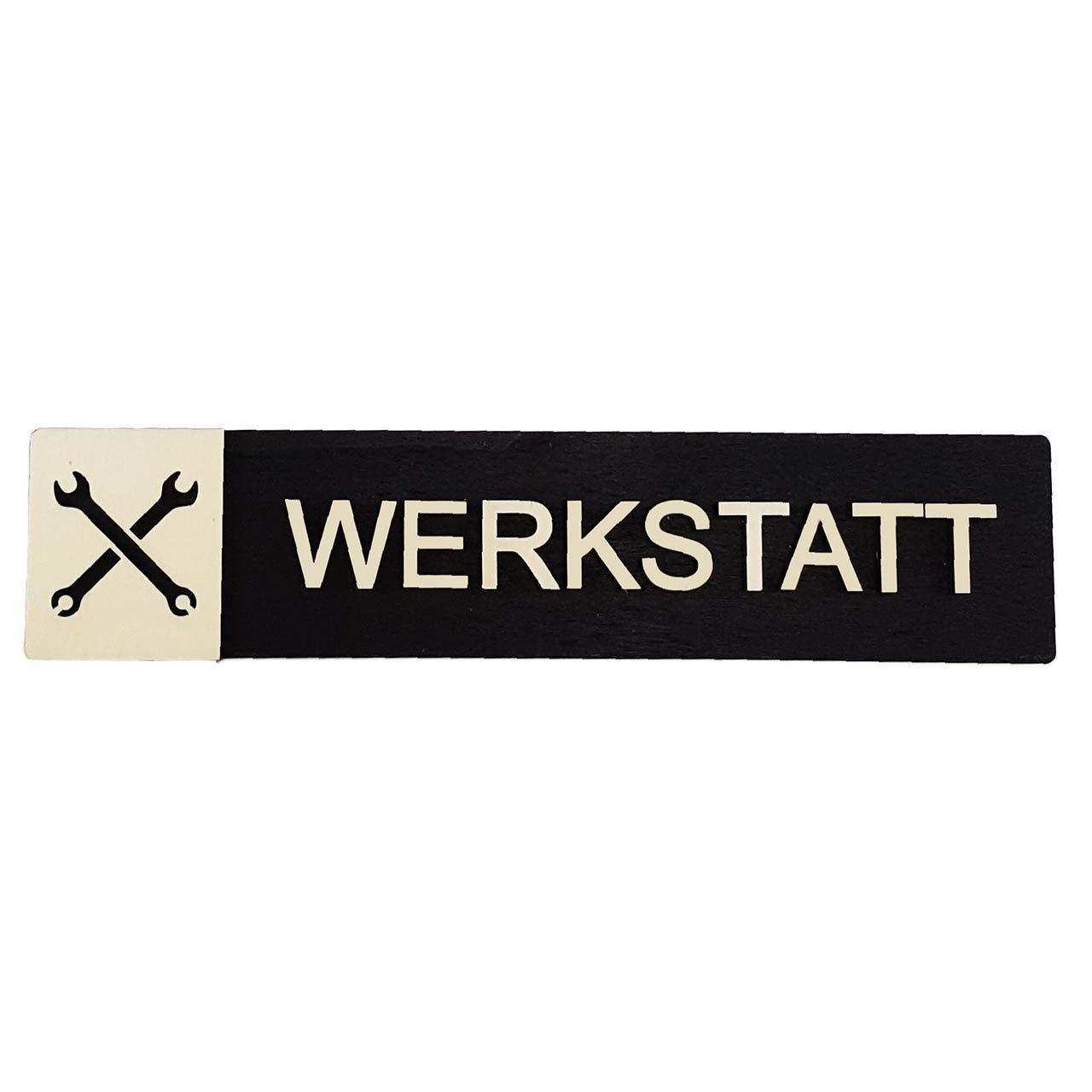 """Holz-Türschild """"Werkstatt"""""""