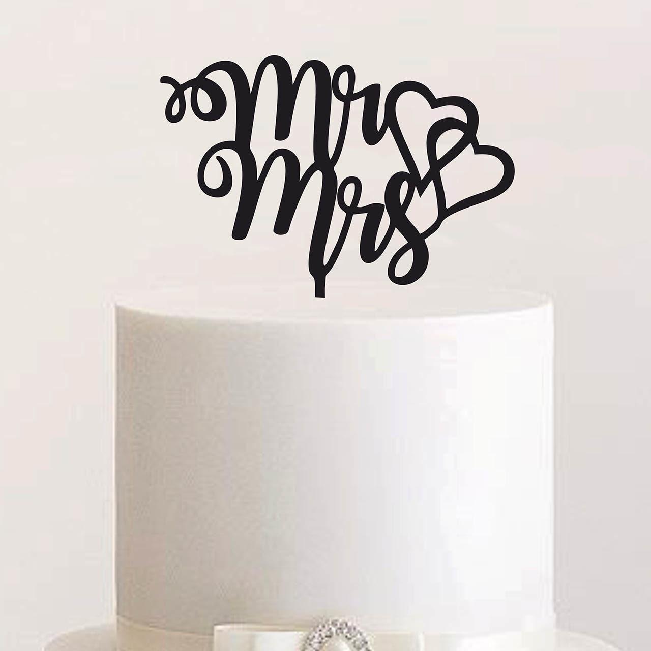 """Cake Topper """"Mr & Mrs mit zwei Herzen"""""""