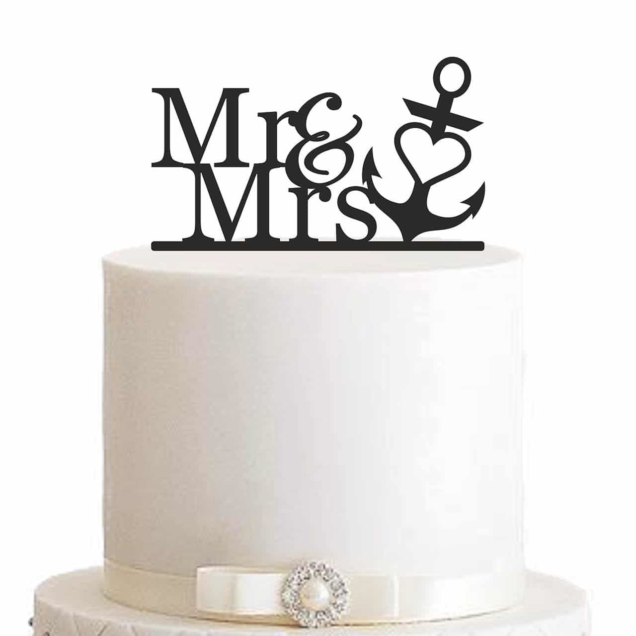 "Cake Topper ""Mr & Mrs mit Anker"""