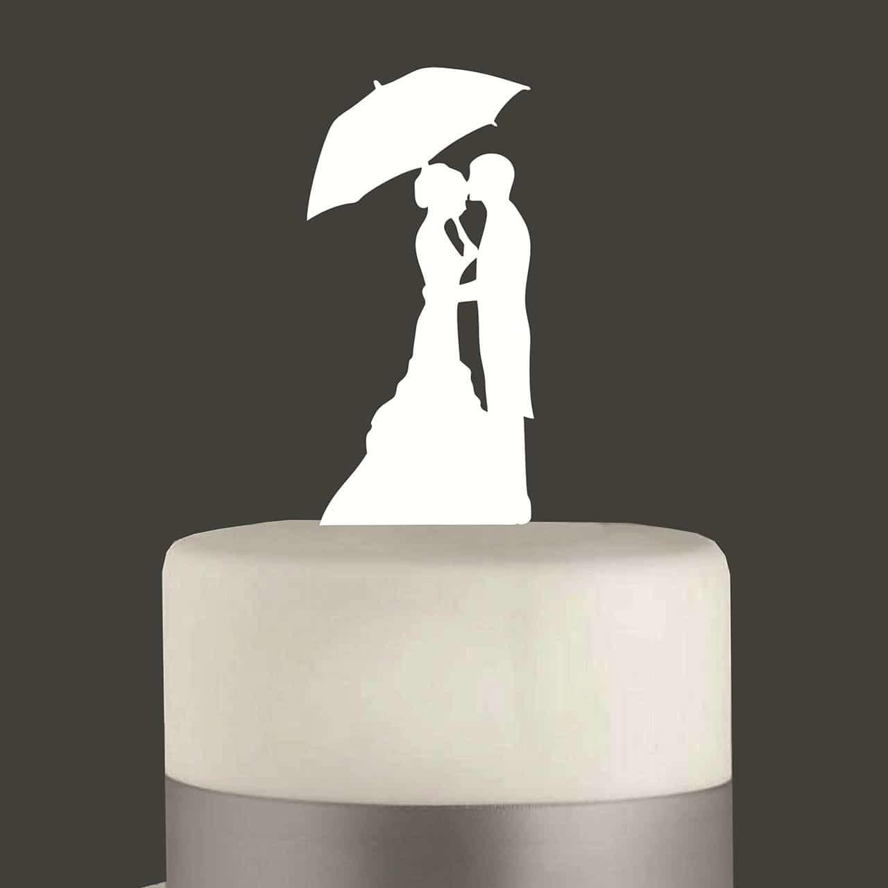 """Cake Topper """"Ehepaar mit Schirm"""""""