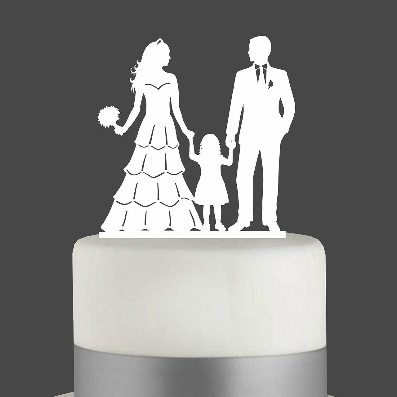 """Cake Topper """"Ehepaar mit Mädchen"""""""