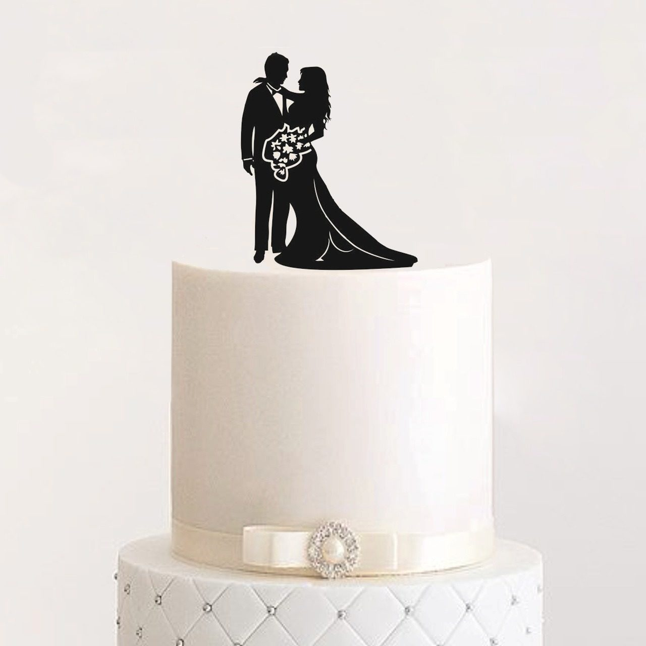 "Cake Topper ""Ehepaar mit Blumen"""