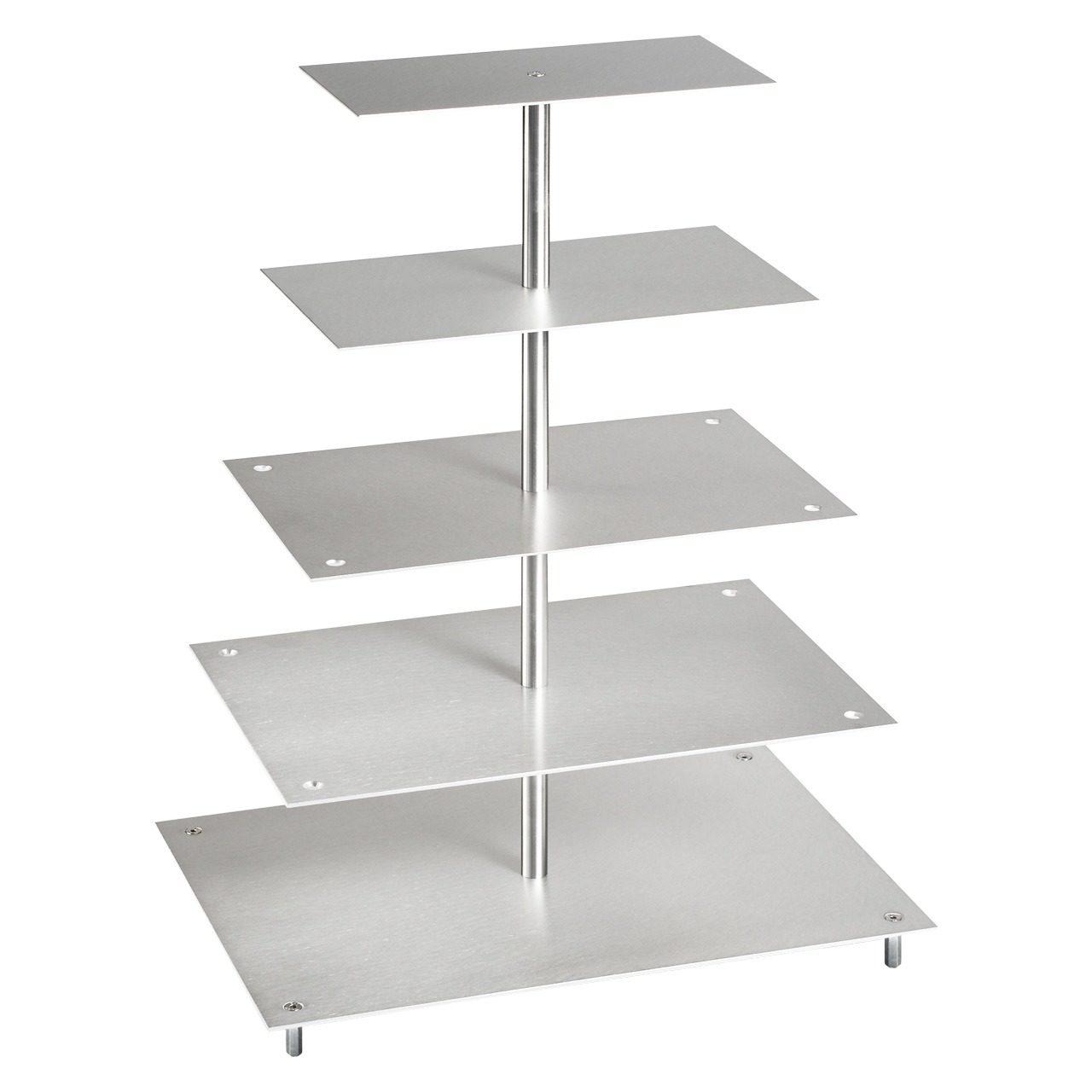 Tortenetagere, Aluminium, Rechteckig, 5-stöckig