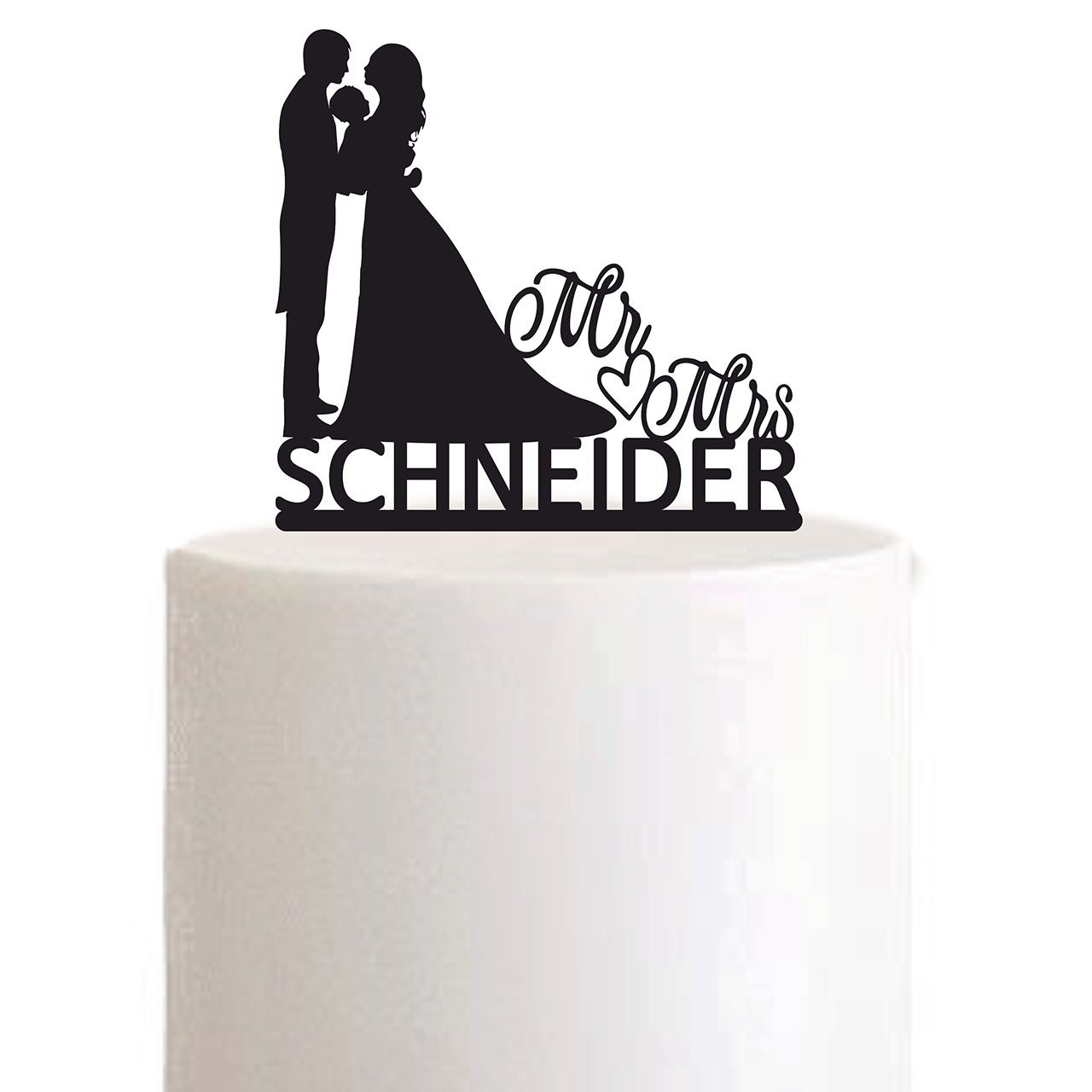 "Cake Topper ""Mr Herz Mrs Nachname"" - Personalisiert"