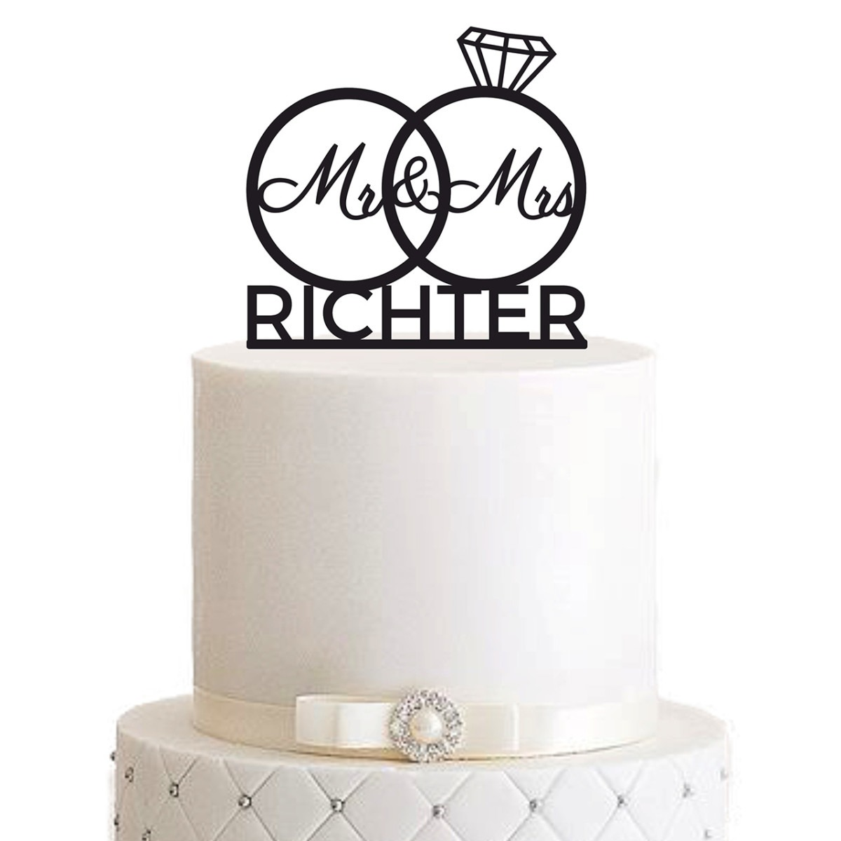 "Cake Topper ""Ringe Mr & Mrs Nachname"" - Personalisiert"