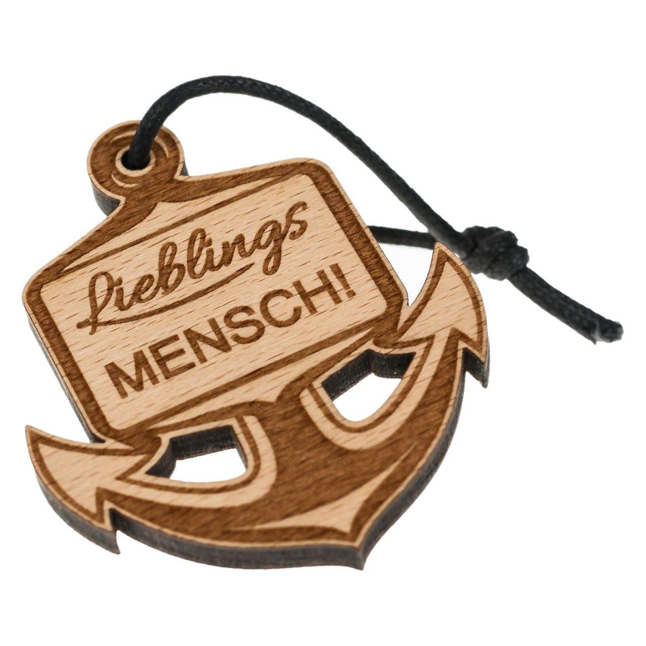 """Holz-Schlüsselanhänger """"Anker - Lieblingsmensch"""""""