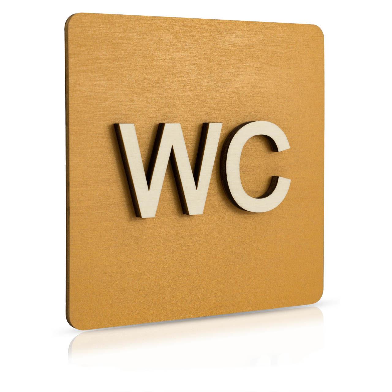"""Holz-Türschild (Nussbaum hell) """"WC"""""""
