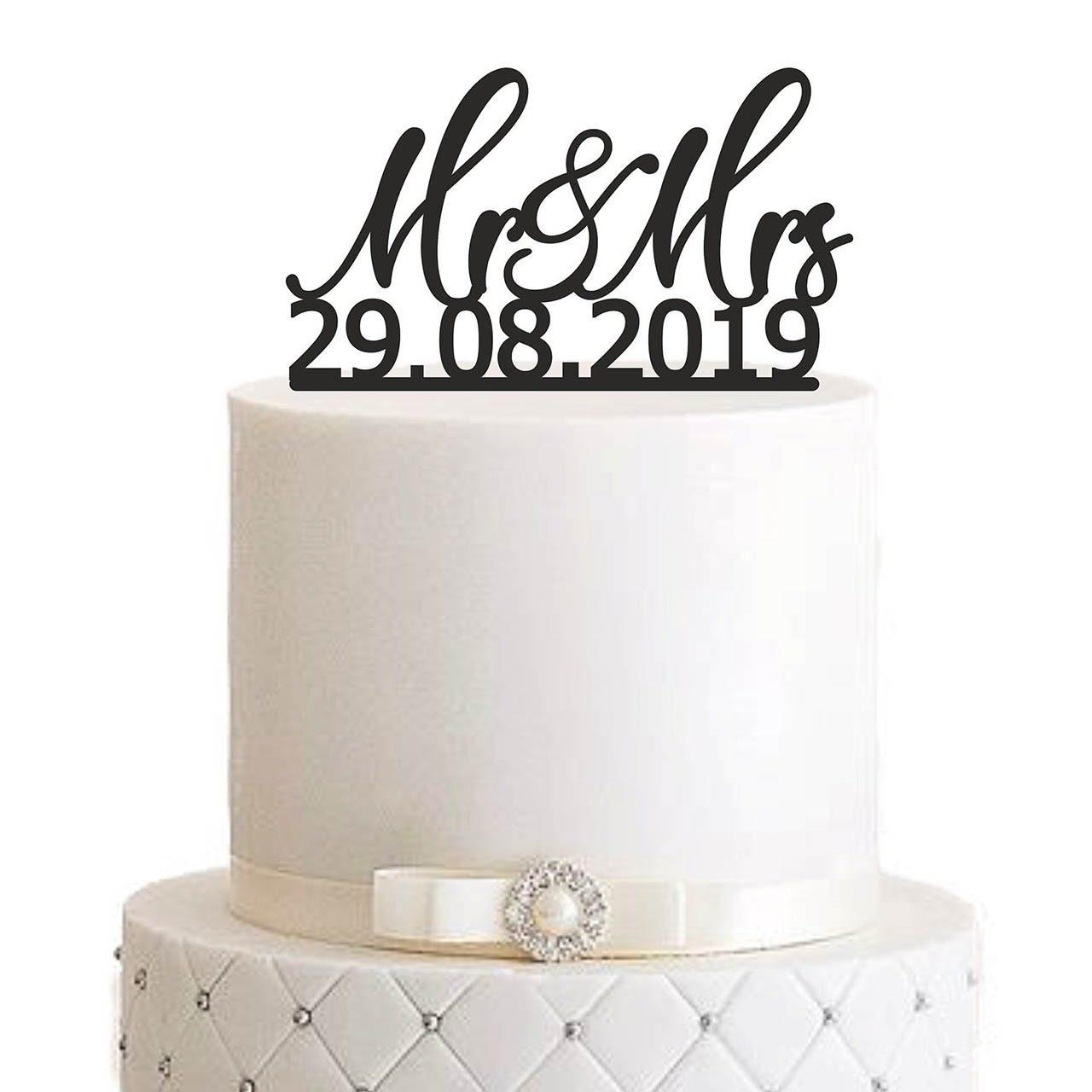 "Cake Topper ""Mr&Mrs mit Datum"""