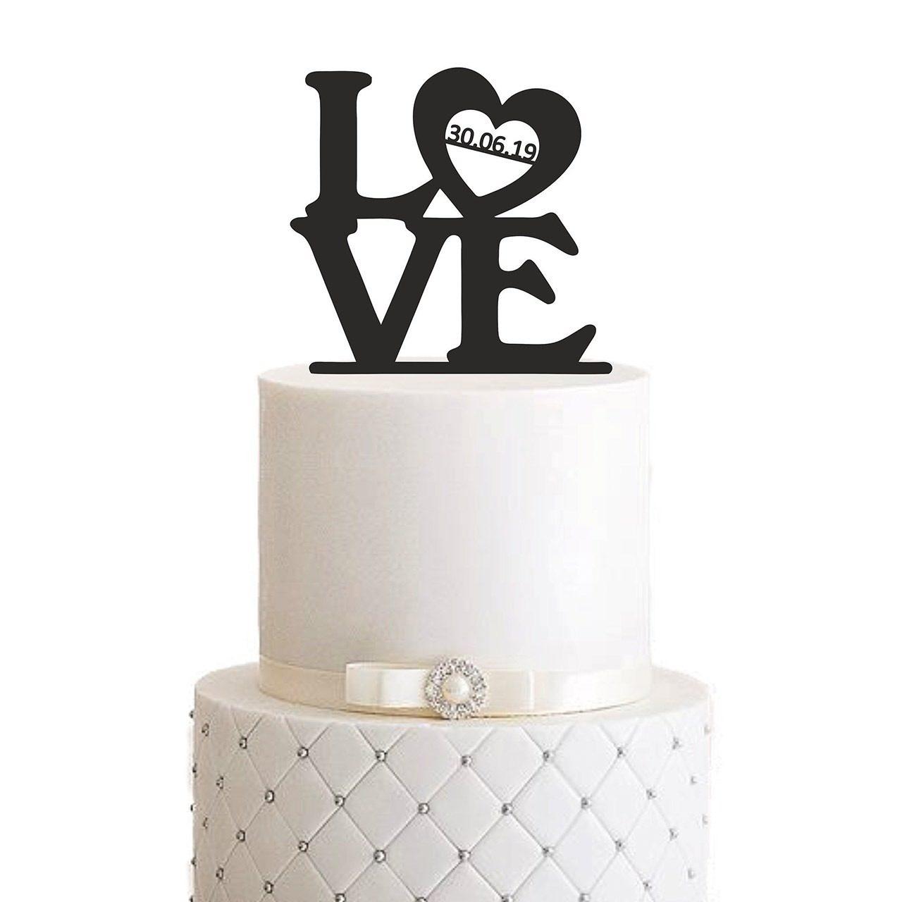 "Cake Topper ""Love mit Datum"""