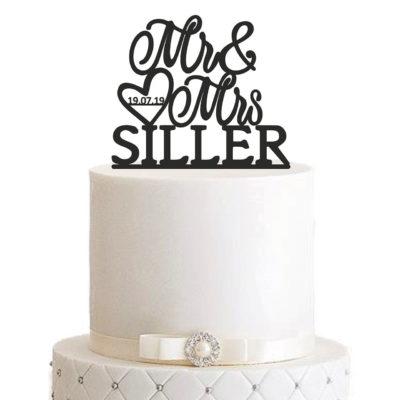 """Cake Topper """"Mr & Mrs mit Herz"""" – Personalisiert"""