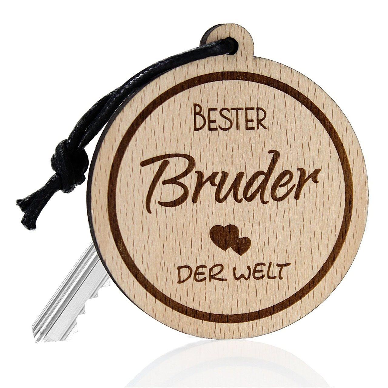 "Holz-Schlüsselanhänger ""Bester Bruder der Welt"""