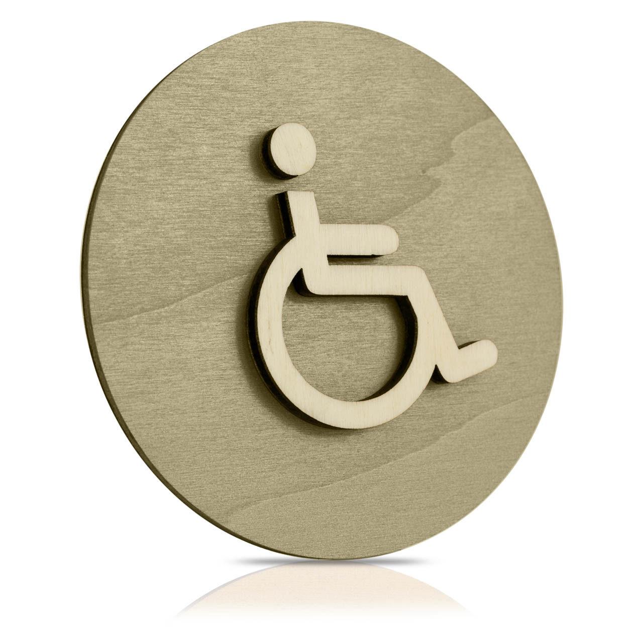 """Rundes Holz-Türschild (moosgrau) """"Behinderten WC"""""""