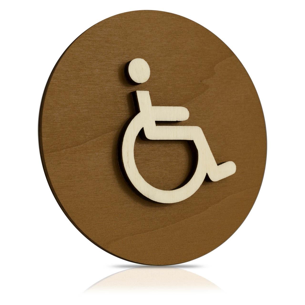 """Rundes Holz-Türschild (Nussbaum dunkel) """"Behinderten WC"""""""