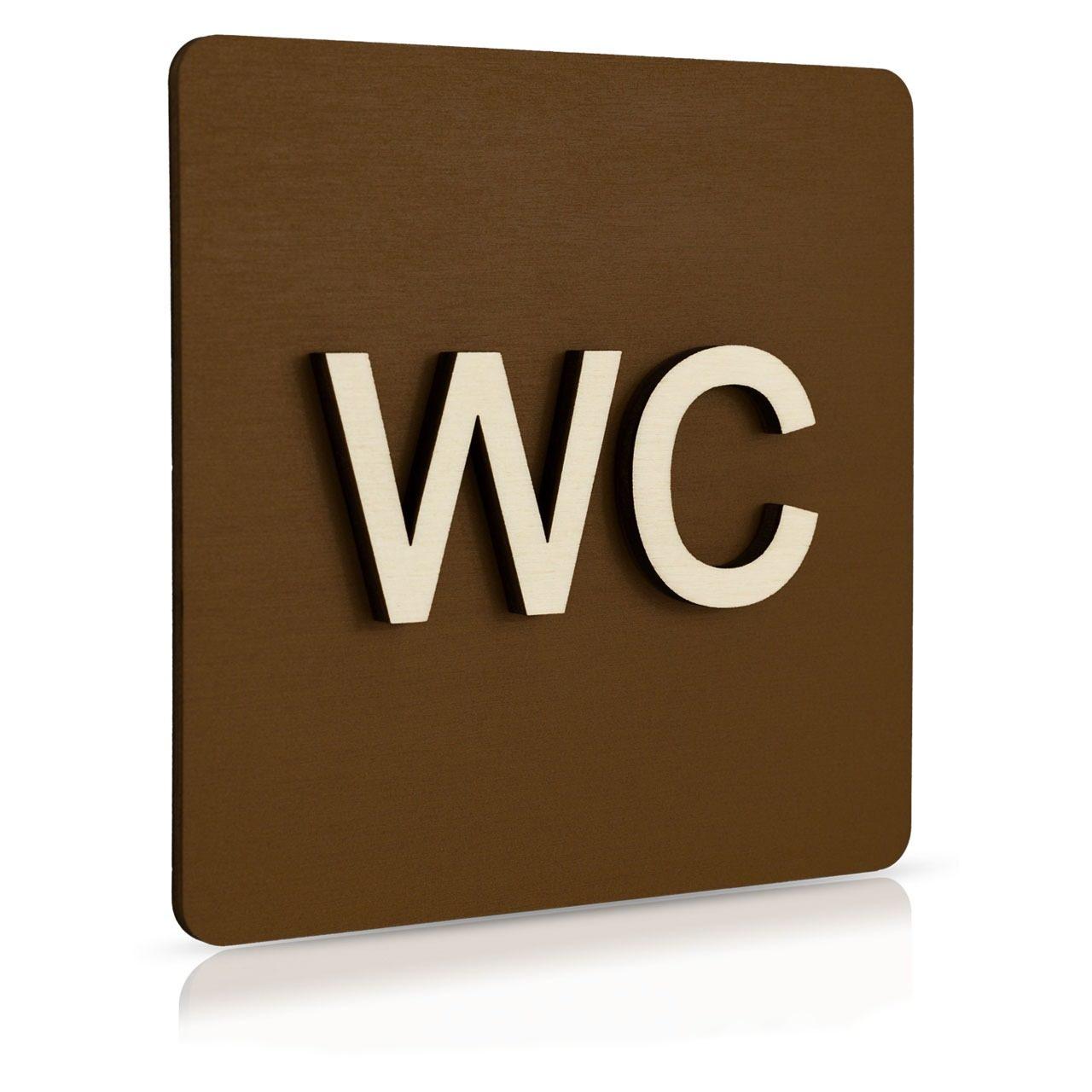 "Holz-Türschild (schokobraun) ""WC"""