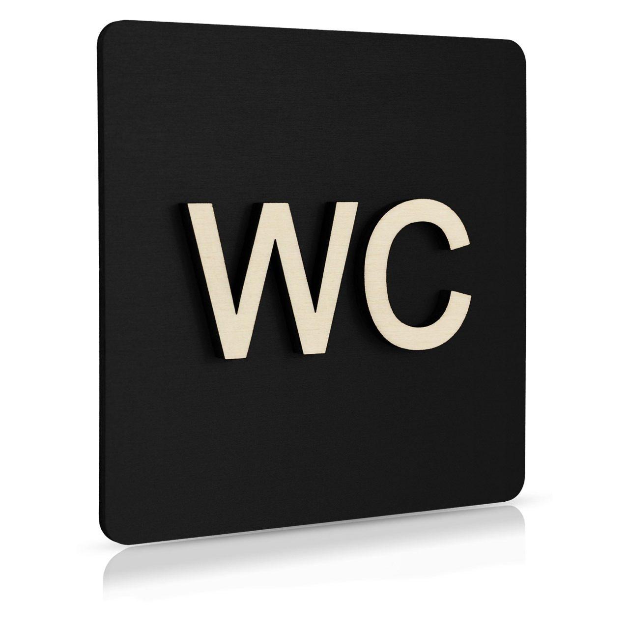 """Holz-Türschild (schwarz) """"WC"""""""