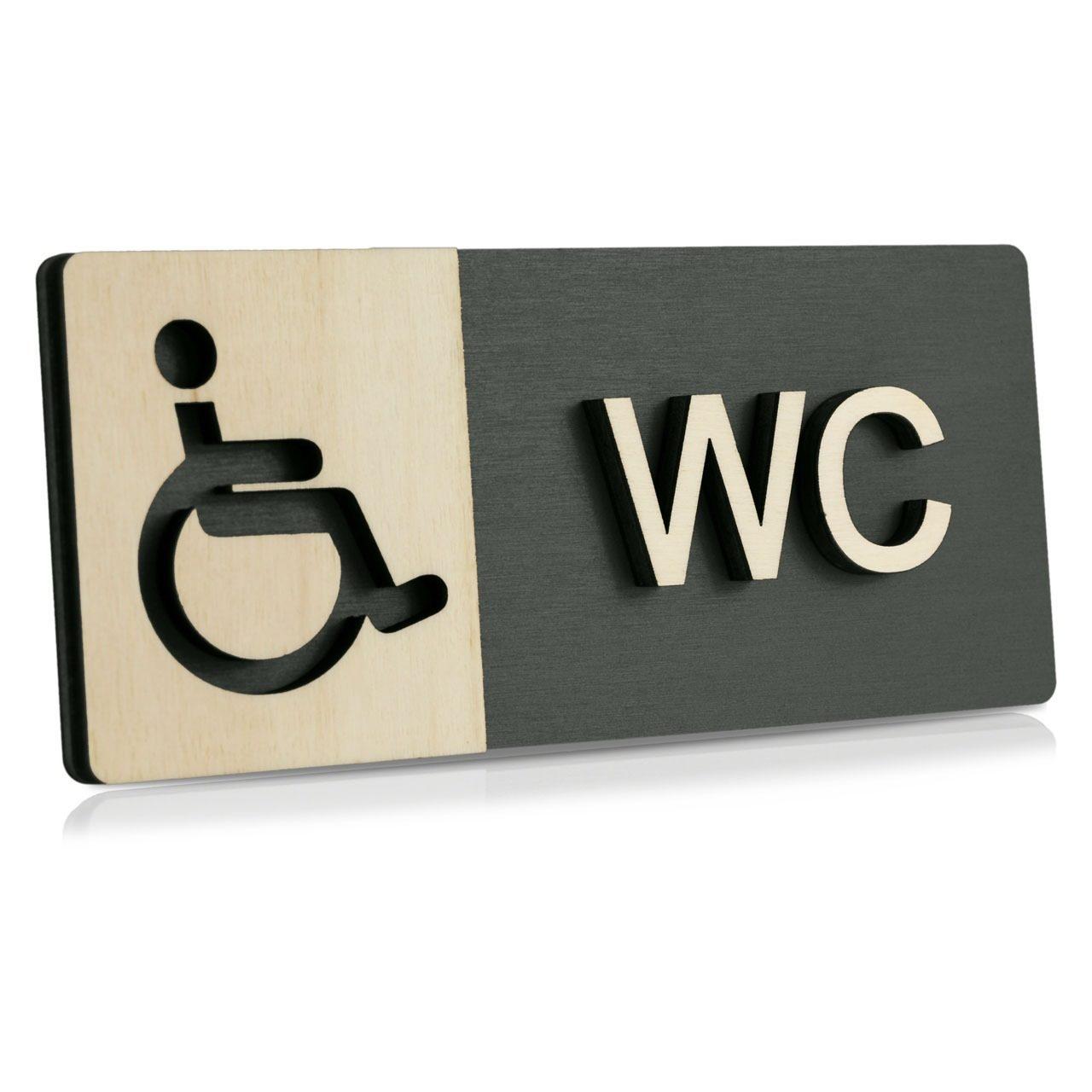 """Holz-Türschild (Anthrazit) """"Behinderten-WC"""""""