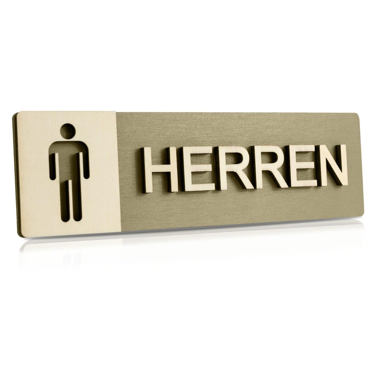 """Holz-Türschild (Moosgrau) """"Herren"""""""
