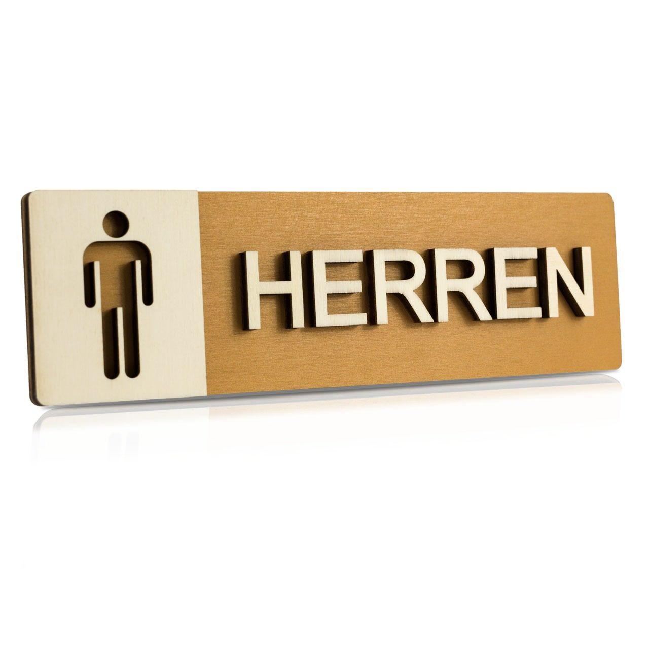 """Holz-Türschild (Nussbaum hell) """"Herren"""""""