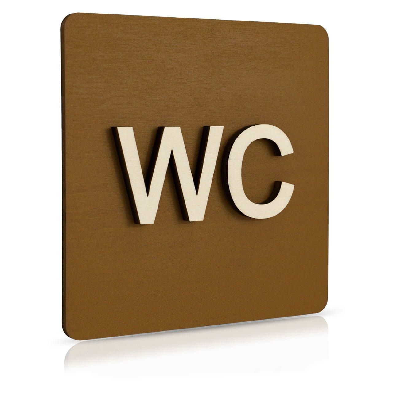 """Holz-Türschild (Nussbaum dunkel) """"WC"""""""