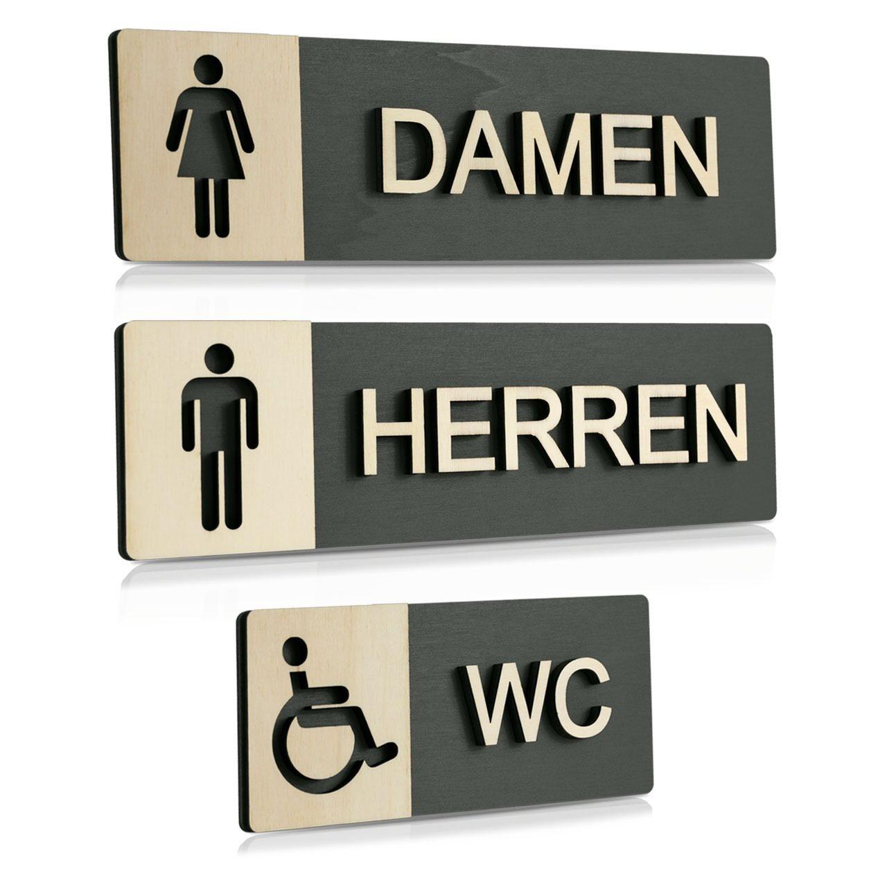 """Holz-Türschilder (Anthrazit) """"Damen, Herren und Behinderten-WC"""""""