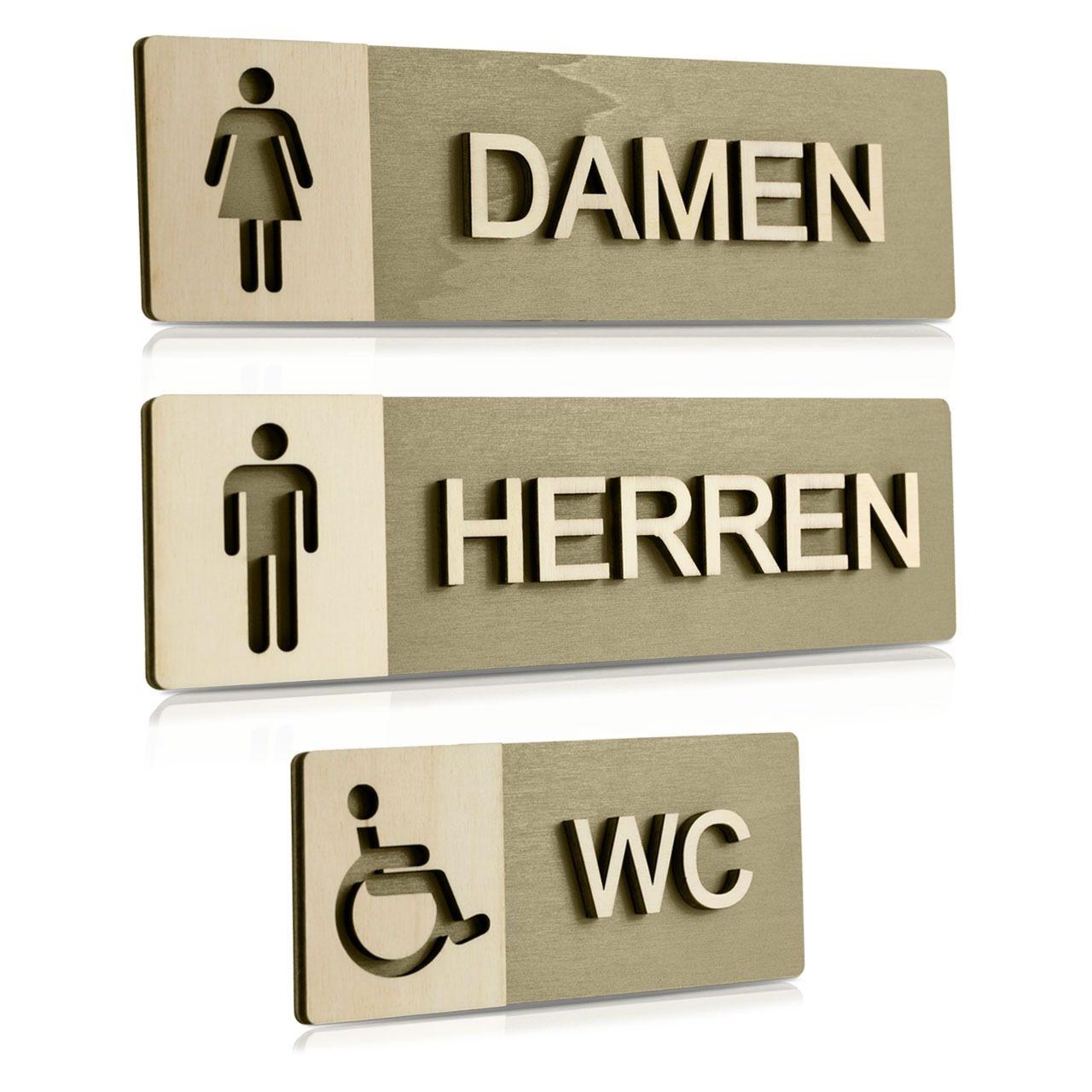"""Holz-Türschilder (Moosgrau) """"Damen, Herren und Behinderten-WC"""""""
