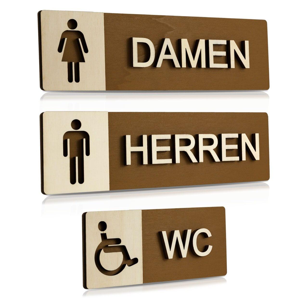 """Holz-Türschilder (Nussbaum dunkel) """"Damen, Herren und Behinderten-WC"""""""