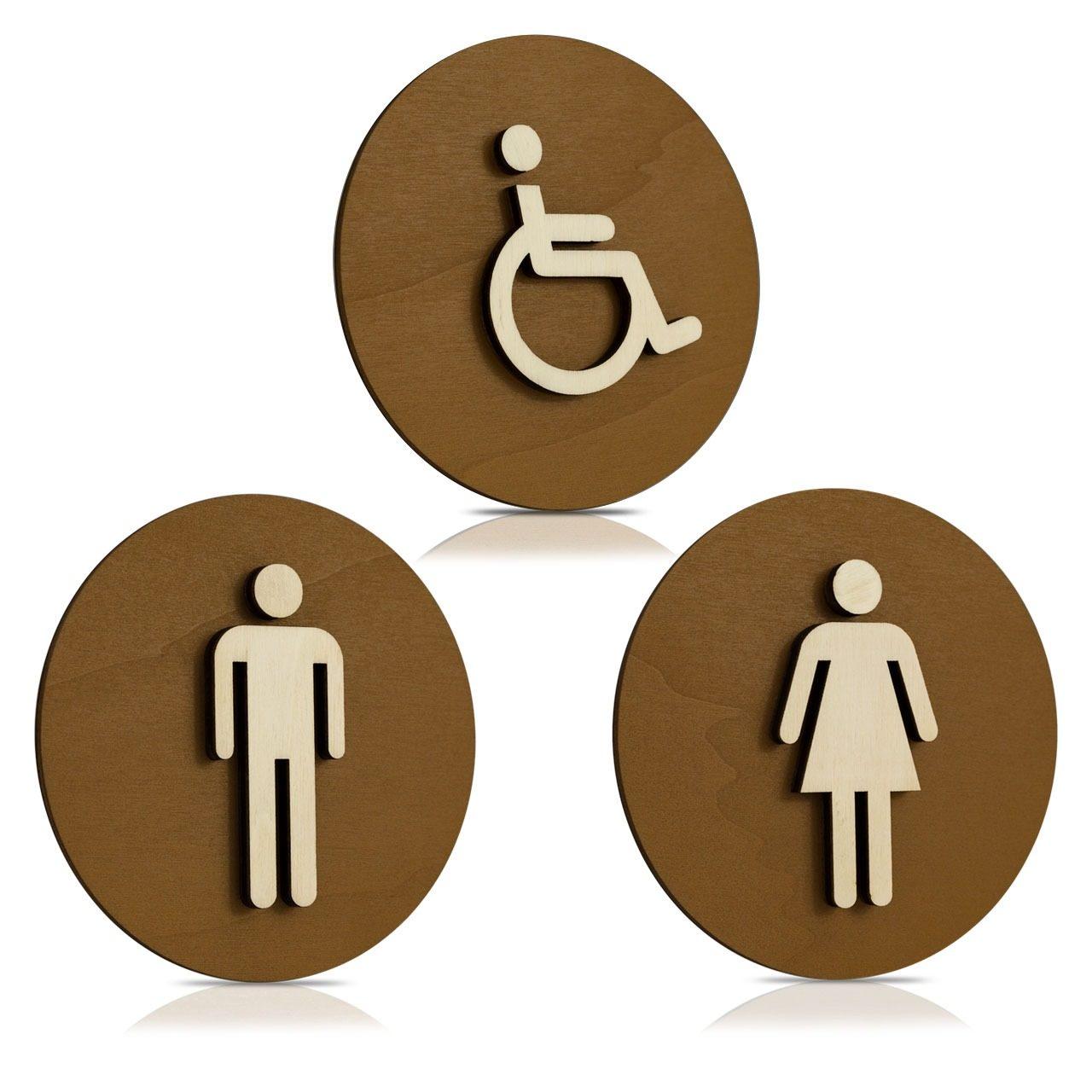 """Nussbaum-Türschilder (Dunkel) """"Mann, Frau und Behinderten-WC"""""""