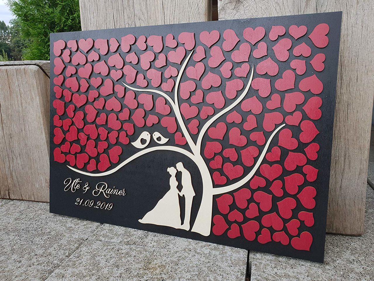 """3D Hochzeitsgästebuch Rubinrot """"Baum"""" – Personalisiert"""