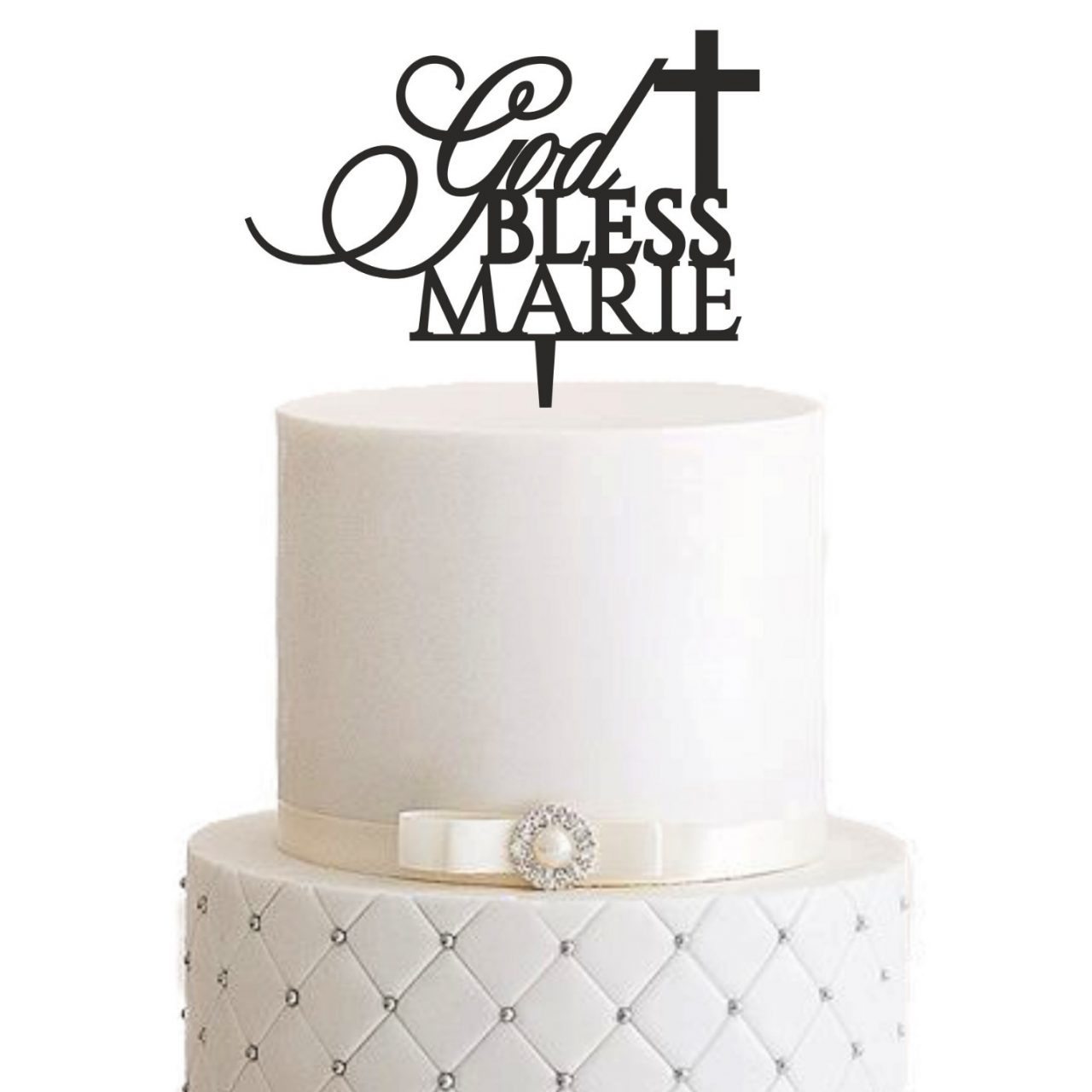 "Cake Topper ""God Bless"" – Personalisiert"