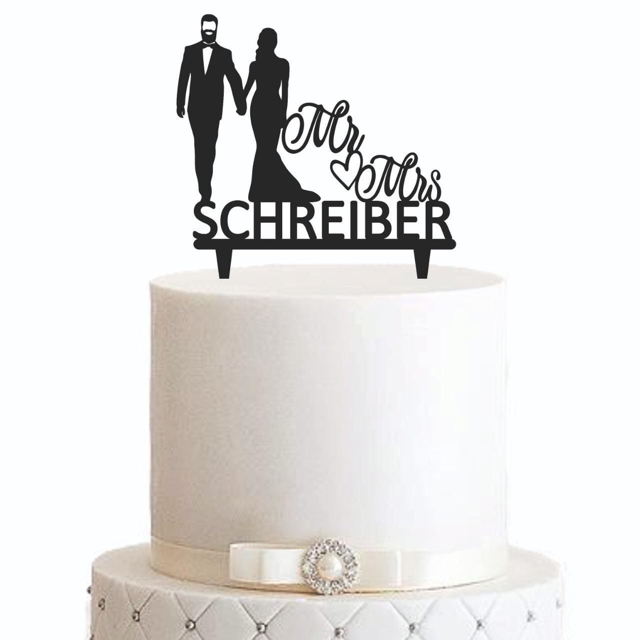 """Cake Topper """"Mann mit Bart Mr Herz Mrs"""" - Personalisiert"""