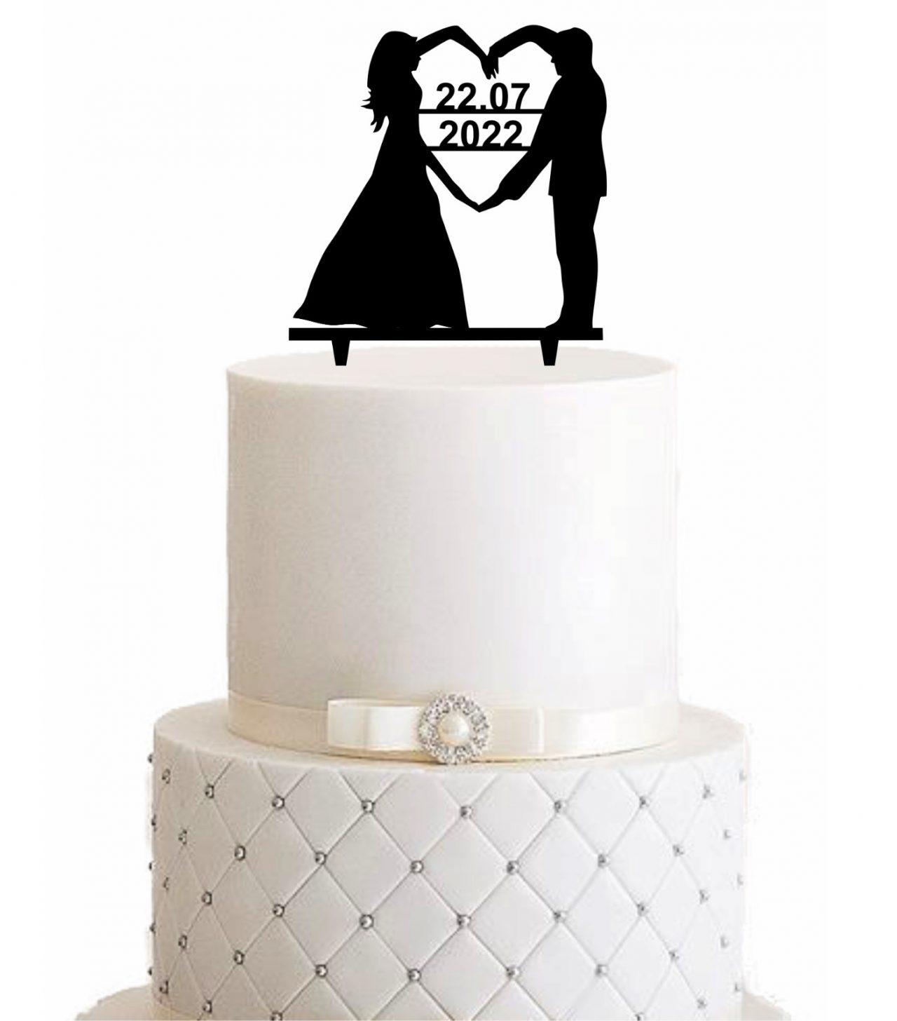 Cake Topper Datum im Herzen - Personalisiert