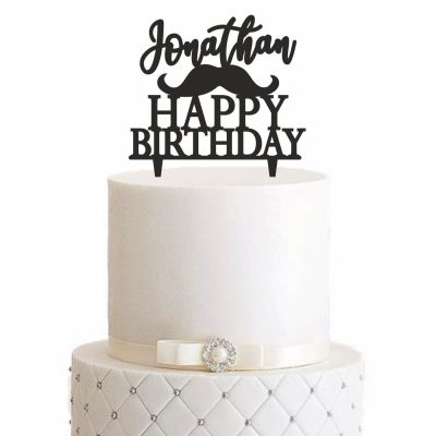 Cake Topper Happy Birthday Hipster Bart - Personalisiert