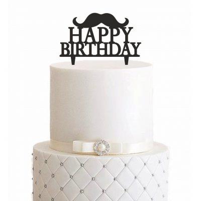 Cake Topper Happy Birthday Hipster Bart
