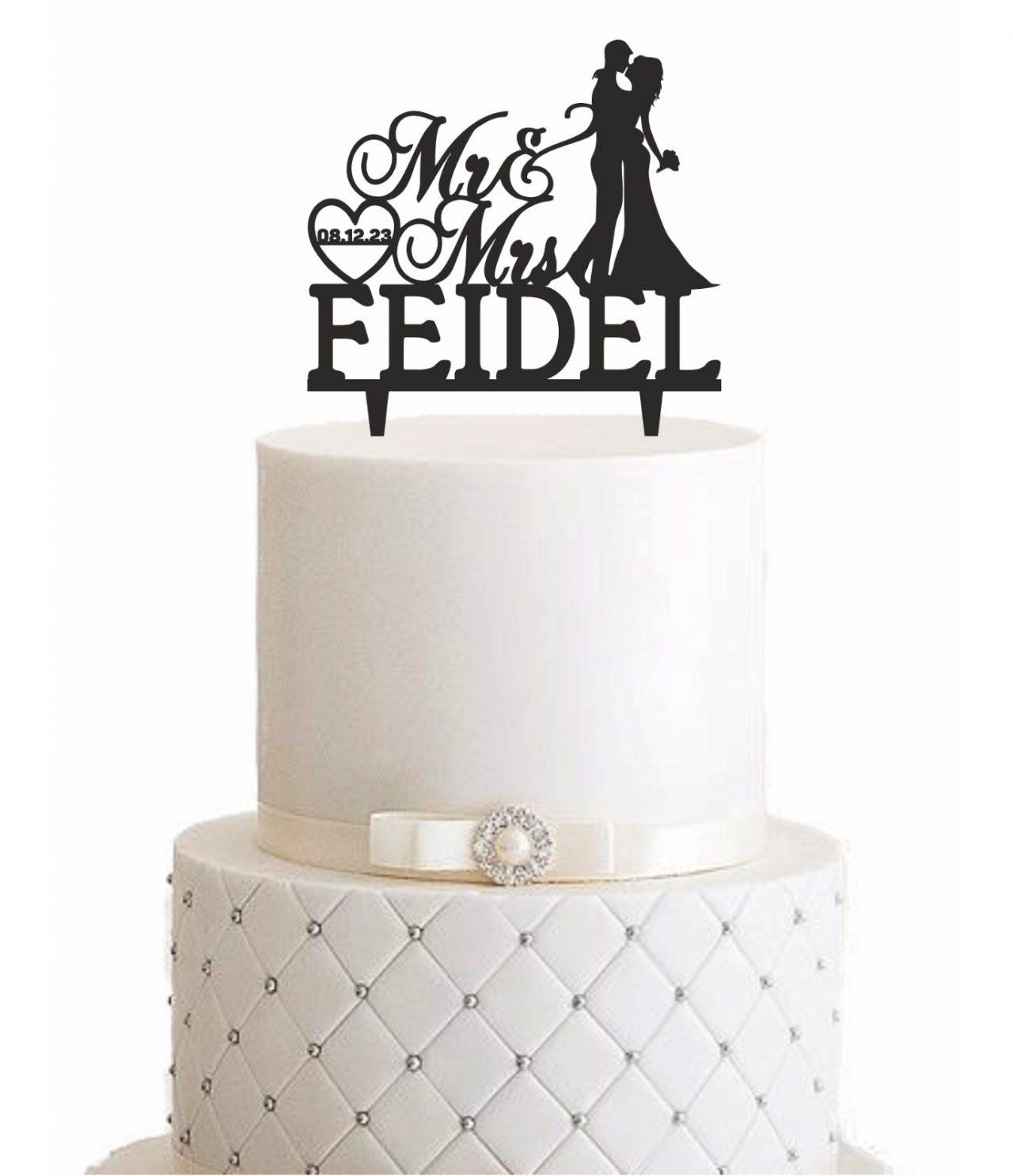 "Cake Topper ""Kuss mit Nachname & Datum"" – Personalisiert"