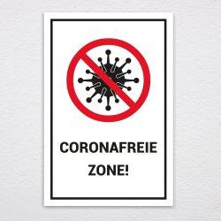 Coronafreie Zone Türschild