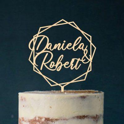 "Cake Topper ""Vornamen in Raute"" - Personalisiert"