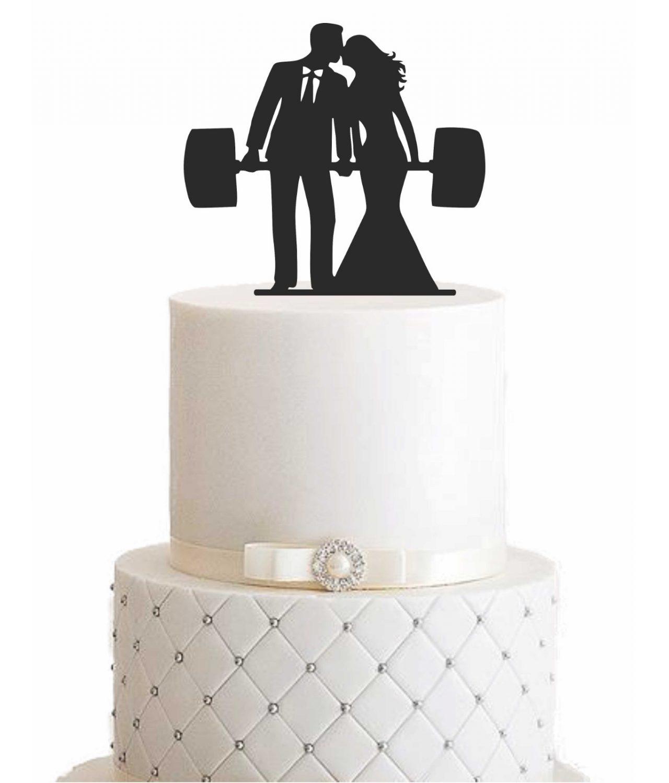 """Cake Topper """"Ehepaar mit Langhantel"""""""