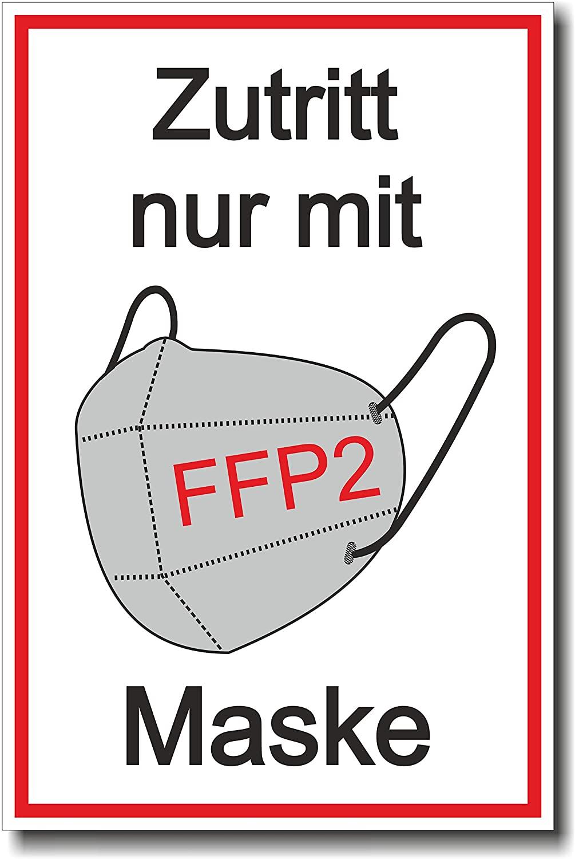 """Schild """"Zutritt nur mit FFP2 Maske"""" - Coronavirus (COVID-19) (Kopie)"""