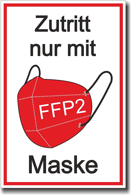"""Schild """"Zutritt nur mit FFP2 Maske"""""""