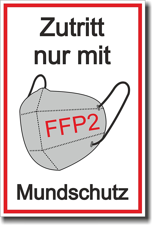 """Schild """"Zutritt nur mit FFP2 Mundschutz"""" - Coronavirus (COVID-19)"""
