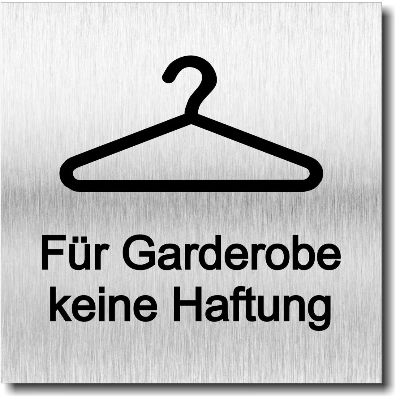 """Türschild """"Für Garderobe keine Haftung"""""""