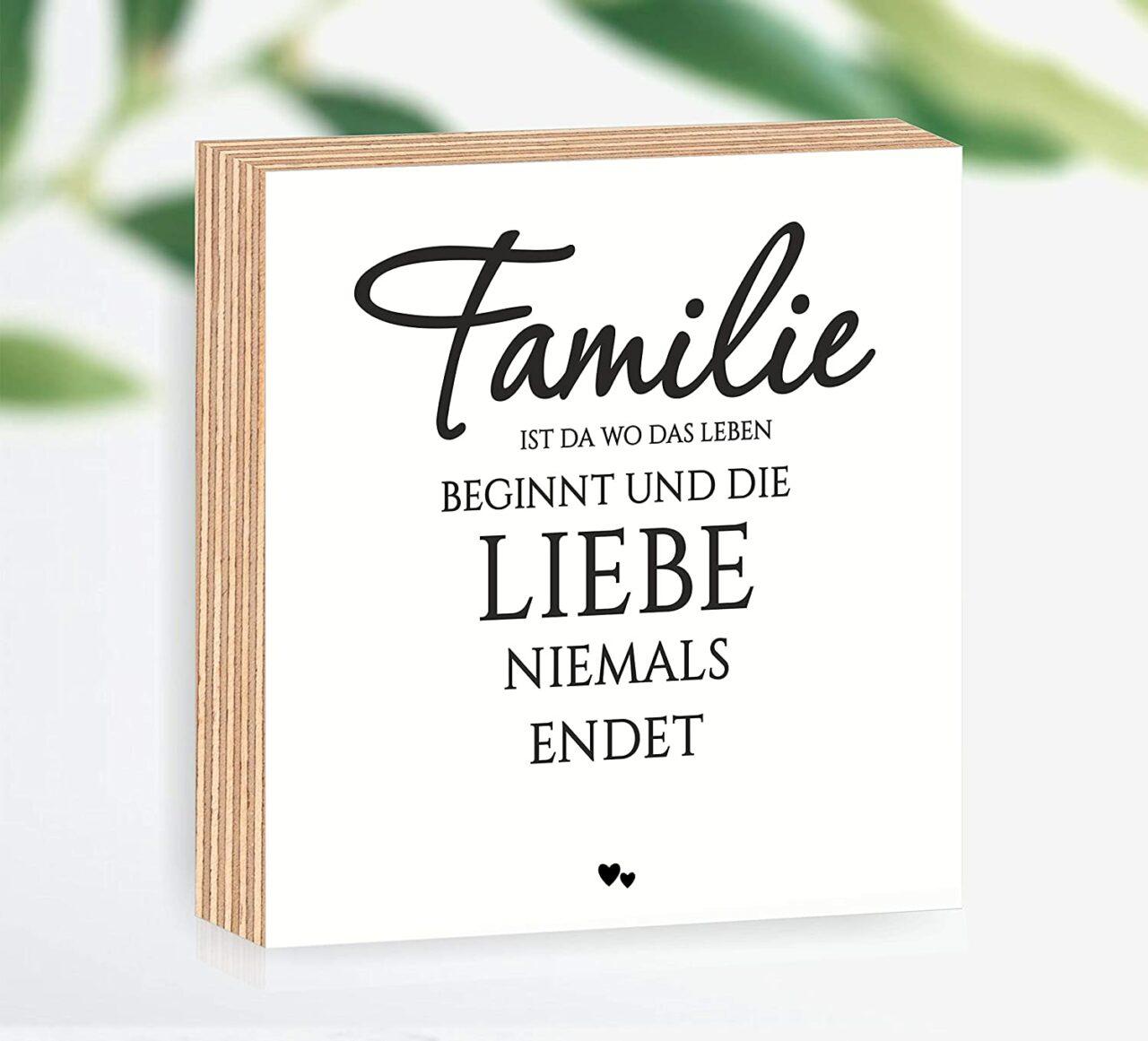 """Holzbild """"Familie ist wo Leben beginnt und die Liebe niemals endet"""""""