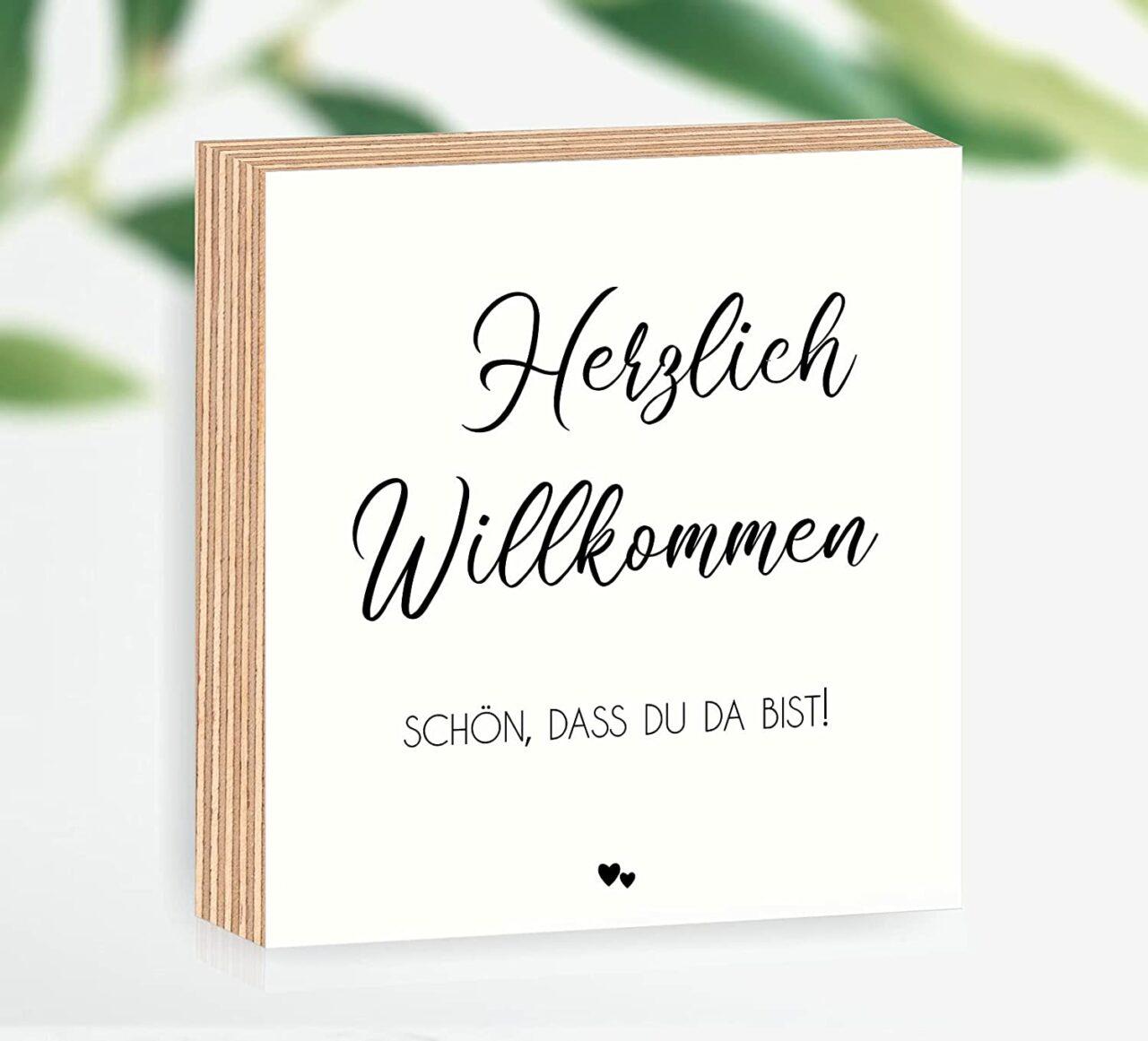 """Holzbild """"Herzlich Willkommen - schön, dass du da bist"""""""
