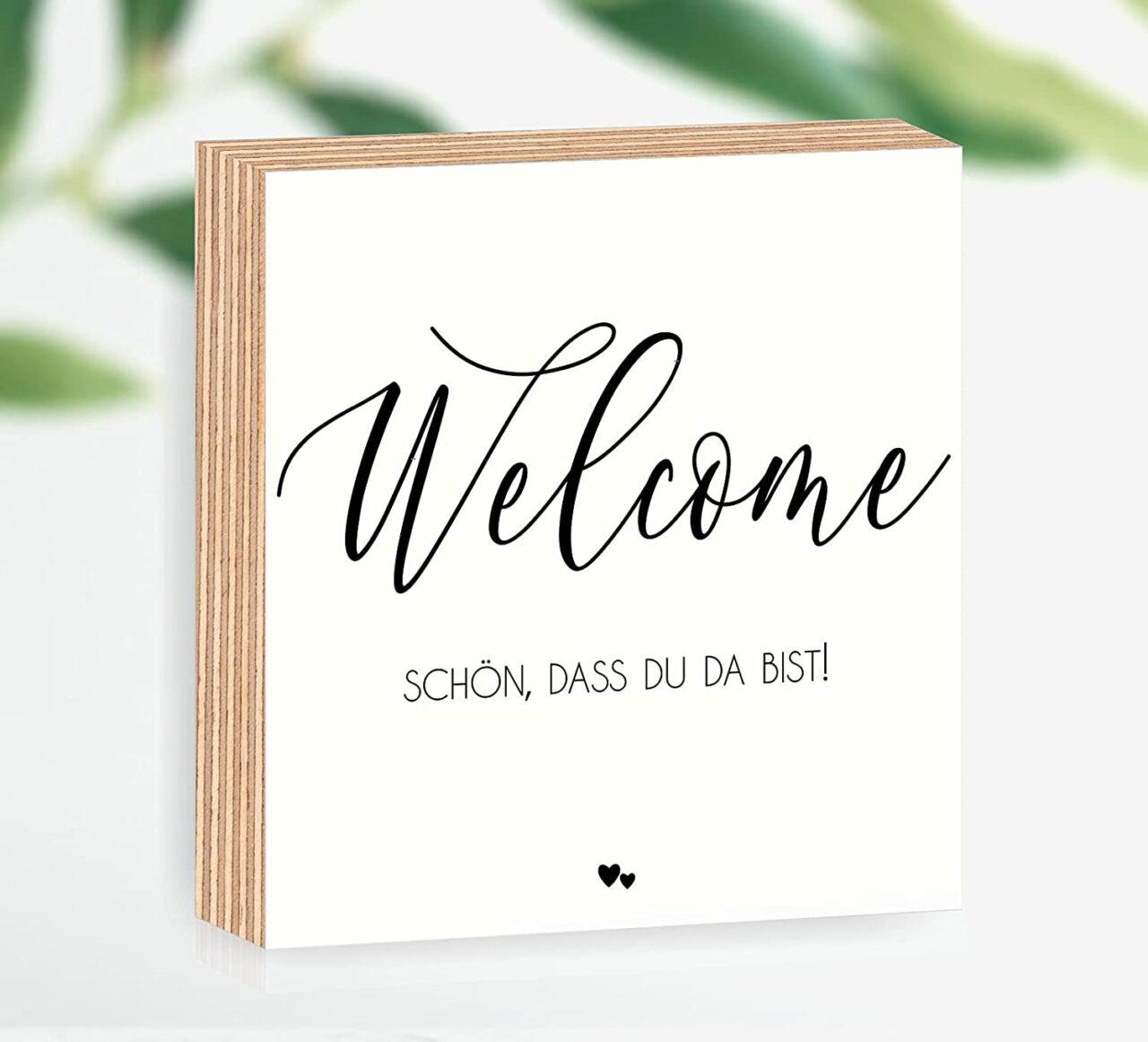 """Holzbild """"Welcome - schön, dass du da bist"""""""